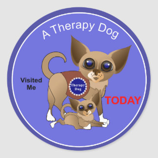 Therapy Dog Visit Classic Round Sticker