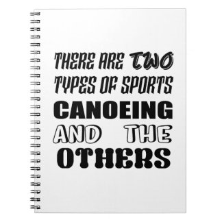There are two types of sports Canoeing  and others Notebook