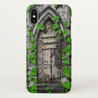 There be Dragons King Arthur Medieval Dragon Door iPhone X Case