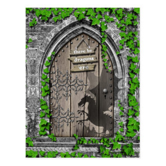 There be Dragons King Arthur Medieval Dragon Door Postcard