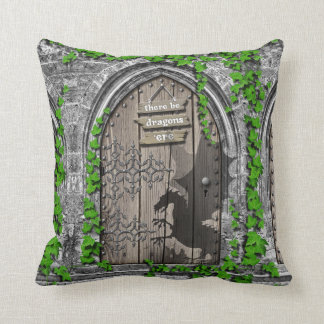 There be Dragons King Arthur Medieval Dragon Door Throw Pillow