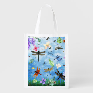 There Be Dragons Whimsical Dragonfly Design Reusable Grocery Bags