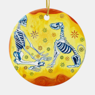 There is no death.  Only different realms Round Ceramic Ornament