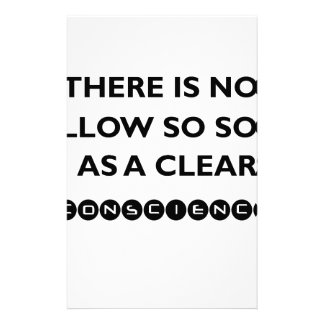 there is no pillow so sofe as a clear conscience stationery