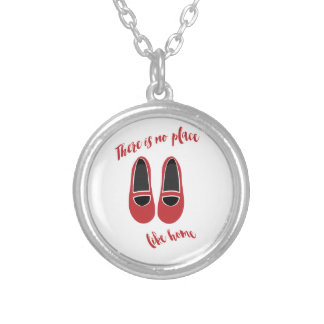 There is no place like home silver plated necklace