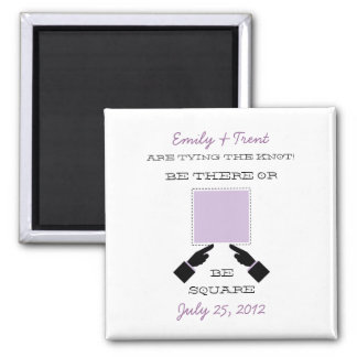 There or Square Save the Date Magnet, Lilac