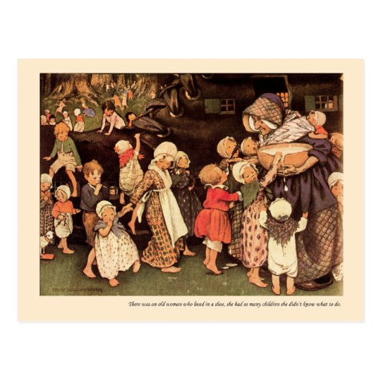 There Was An Old Woman Nursery Rhyme Postcard