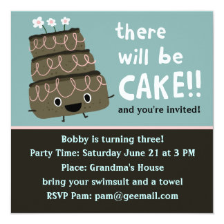There Will Be Cake! Funny & Cute Party Invitation