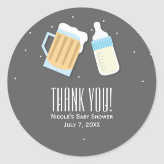There's A Baby Brewing Beer Mugs Shower Favor Round Sticker