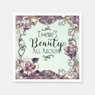 There's Beauty All Around Butterflies & Roses Disposable Napkins