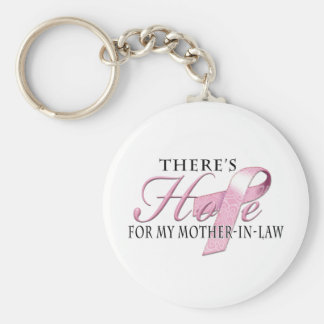 There's Hope for Breast Cancer Mother-In-Law Basic Round Button Keychain
