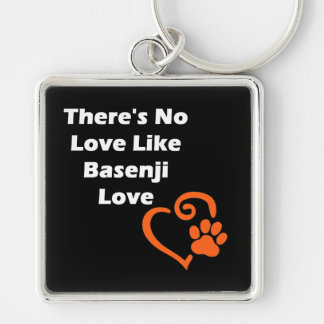There's No Love Like Basenji Love Silver-Colored Square Keychain