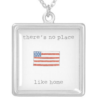 There's No Place Like Home | Flag of The USA Silver Plated Necklace