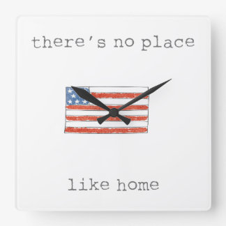 There's No Place Like Home | Flag of The USA Square Wall Clock