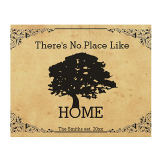 There's no Place Like Home/Tree Personalized EST. Wood Canvases