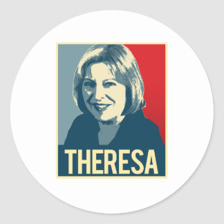 Theresa Propaganda Poster -  Round Sticker