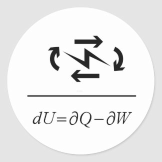 Thermodynamics First Law Round Sticker