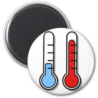 Thermometer cold hot coldly warmly 2 inch round magnet
