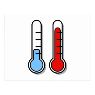 Thermometer cold hot coldly warmly postcard