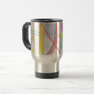 thermoshow with bright abstract pattern. travel mug