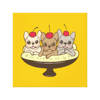 These Frenchies want to be your sweet banana split Canvas Print