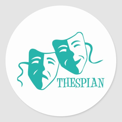 thespian light teal round stickers