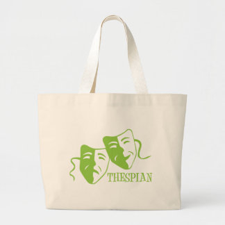 thespian lime green large tote bag