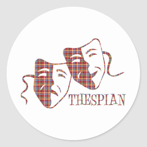 thespian red plaid round sticker