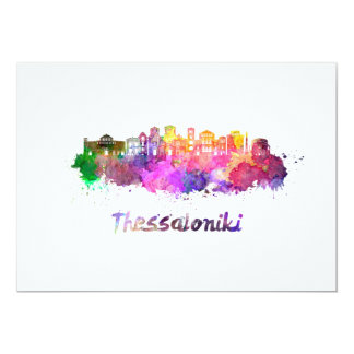 Thessaloniki skyline in watercolor card