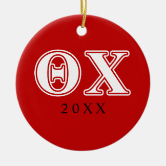 Theta Chi White and Red Letters Ceramic Ornament
