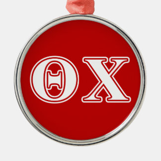 Theta Chi White and Red Letters Metal Ornament