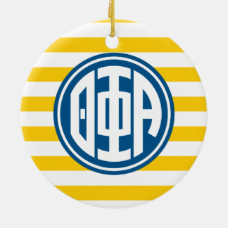 Theta Phi Alpha | Monogram Stripe Pattern Ceramic Ornament