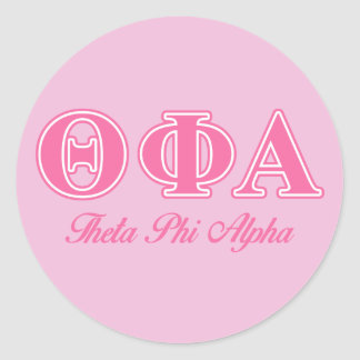 Theta Phi Alpha Pink Letters Round Sticker