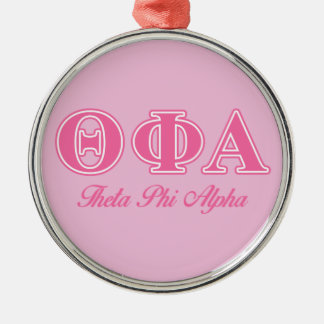 Theta Phi Alpha Pink Letters Silver-Colored Round Ornament