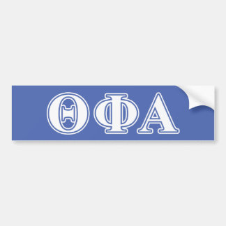 Theta Phi Alpha White and Blue Letters Bumper Sticker