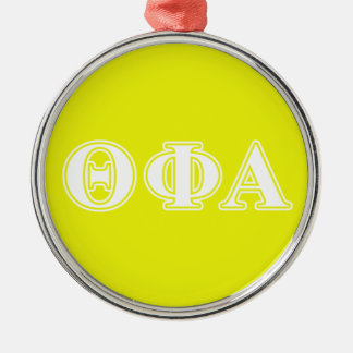 Theta Phi Alpha White and Yellow Silver-Colored Round Ornament