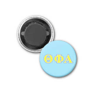 Theta Phi Alpha Yellow and Blue Letters 1 Inch Round Magnet