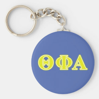 Theta Phi Alpha Yellow Letters Basic Round Button Keychain