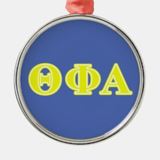 Theta Phi Alpha Yellow Letters Silver-Colored Round Ornament