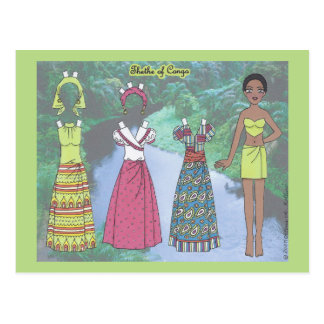 Thethe of Congo Paper Doll Postcard