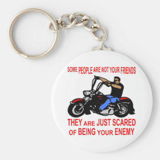 They Are Just Scared Of Being Your Enemy Biker Basic Round Button Keychain
