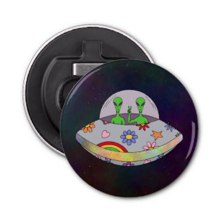 They Come in Peace UFO Button Bottle Opener
