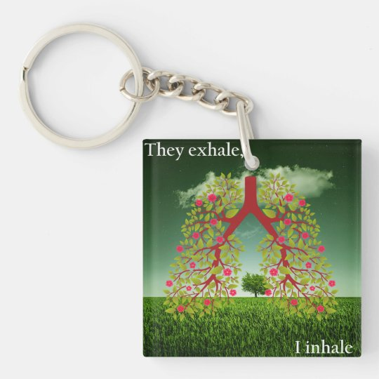 They exhale, I inhale Double-Sided Square Acrylic Keychain