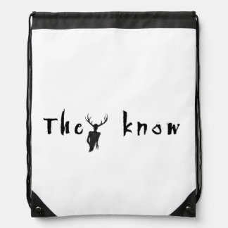 They Know - drawstring backbag Drawstring Bag