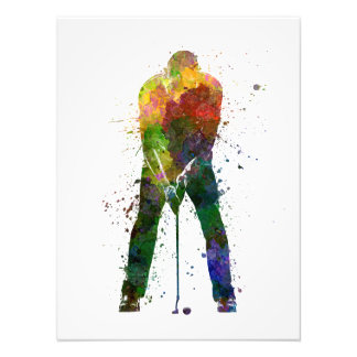 they man to golfer putting silhouette photo print