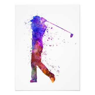 they man to golfer swing silhouette photo print