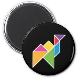 they tangram camel camel 2 inch round magnet