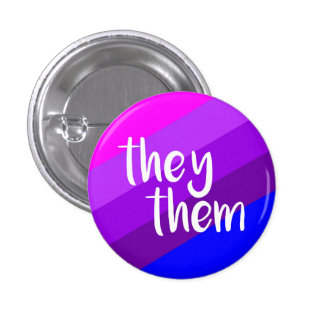They/Them Pronoun Badge 1 Inch Round Button