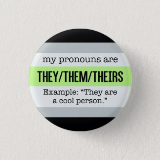 They/Them Pronouns – Agender Flag 1 Inch Round Button