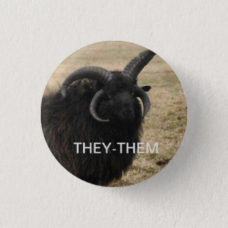 """They-Them"" with serious goat 1 Inch Round Button"
